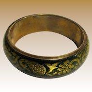 Brass, Lucite & Gilt Green Brocade Indian Bangle
