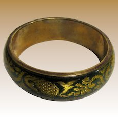 Brass, Lucite & Gilt Green Brocade Indian Bangle
