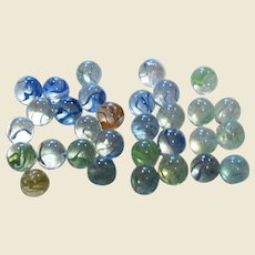 31 Vintage Clear Swirl Glass Marbles, Blue Green Yellow Red & White