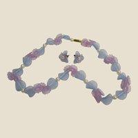 Vintage AVON Hard Plastic Flower & Faux Pearl Necklace & Earring Set