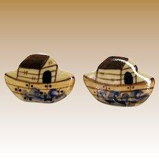 Hand Made Ceramic Boat Earrings