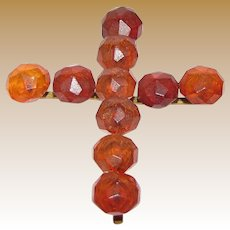"Antique Baltic Amber 2"" Cross Pendant"