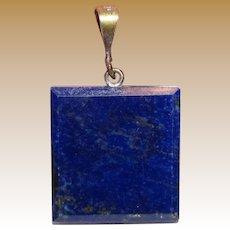 Modernist Lapis Lazuli & Sterling Pendant