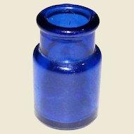"""1910's Cobalt Blue Glass Round Ink Bottle 2"""""""