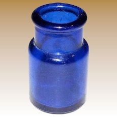 1910's Cobalt Blue Glass Round Ink Bottle 2""