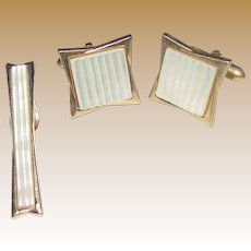 Retro Mother of Pearl Tie Clip & Cuff Links by Swank
