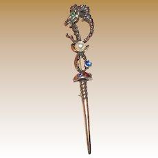 Unusal Cast Brass Mythical Ram Head Sword Pin