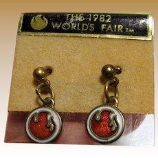 Cute 1982 Worlds Fair Earrings on Original Card
