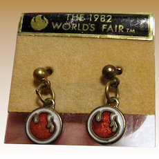 Cute 1982 Worlds Fair Earrings on Original Card