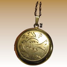 Vintage Engraved Bird 12k Gold Fill Locket on Filigree Chain