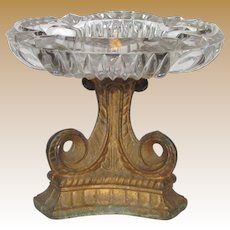 Art Deco Ornate Ashtray w/ Heavy Gilt Cast Metal Pedestal, Clear Pressed Glass Bowl