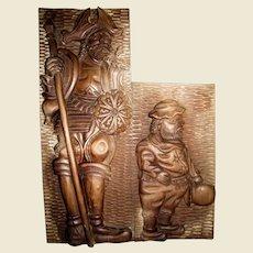 "Large High Relief Carving, Don Quixote & Sancho Panza, Walnut Hardwood 28"""