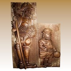 Large High Relief Carving, Don Quixote & Sancho Panza, Walnut Hardwood