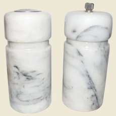 Italian White Carrara Marble Salt Shaker & Pepper Mill