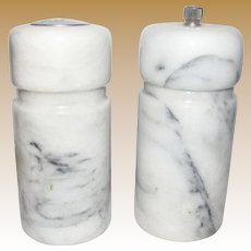 Italian White Carrara Marble Salt Shaker & Pepper Mill