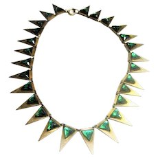 1920's Egyptian Revival Brass Fringe Necklace w/ Green Glass Stones