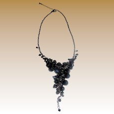 "Drippy Glass Crystal Goth 16"" Necklace"