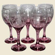 Five Elegant Graduated Pink Wine Glasses w/ Intricate Needle Etching