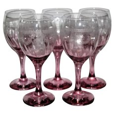 Five Elegant Graduated Pink Wine Glasses w/ Intricate Needle Etching