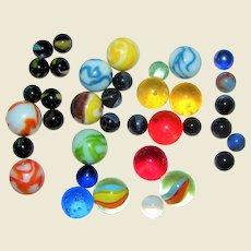 33 Vintage Marbles, Shooters & Standard Marbles, Marble King