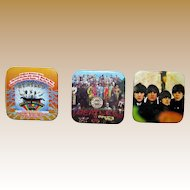 Beatles Album Cover 3 Square Button Pins, Magical Mystery Tour, Sgt Pepper, Beatles for Sale