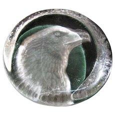 Vintage Eagle Head Paperweight, 24% Lead Crystal, Zajecar Yugoslavia