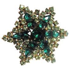 Large Star Rhinestone Pin in Emerald and Peridot Shades