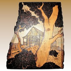 "Vintage Pyrography Art Burnt Wood Engraving ""Covered Bridge"" Wall Plaque"