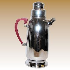 Vintage Chrome/Stainless Coffee Carafe w/ Red Bakelite Handle, Mid-Century
