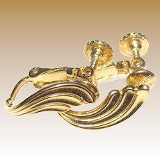 Napier Goldtone Screw Clip Petite Leaf Earrings