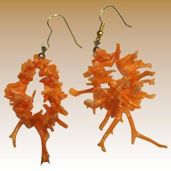 Gorgeous Salmon Coral Stick Branch Earrings
