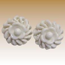 West German Milk Glass Flower Clip Earrings
