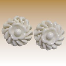 West German Milk Glass Flower Clip Earrings