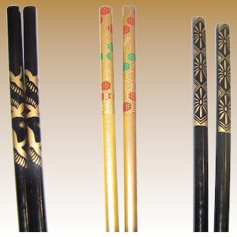 Collection of 3 Pairs Vintage Asian Hair Sticks (2)