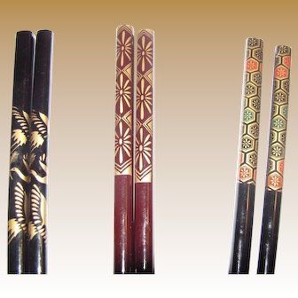Collection of 3 Pairs Vintage Asian Hair Sticks (3)