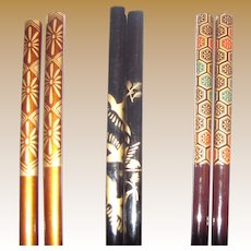 Collection of 3 Pairs Vintage Asian Hair Sticks (4)