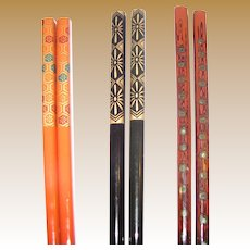 Collection of 3 Pairs Vintage Asian Hair Sticks, one w/ Abalone Inlay (5)