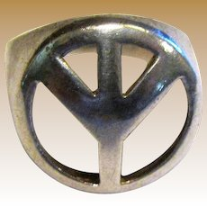 1970's Sterling Peace Symbol Domed Wide Ring Size 6.25