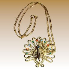 Goldtone Rhinestone Peacock Pin Pendant Necklace