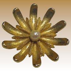 Elegant Dimensional Goldtone & Cultured Pearl Pin