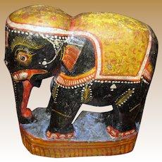 Large Vintage Papier Mache Hand Painted Elephant w/ Distressed Finish