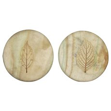 Two Hand Made Pottery Coasters w/ Impressed Leaf Design, Signed, Like New
