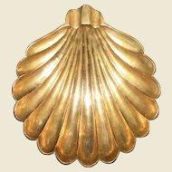 "Vintage Scallop Shell Shaped Brass Ashtray or Trinket Dish, Near Mint 8"""
