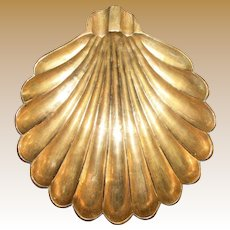 Vintage Scallop Shell Shaped Brass Ashtray or Trinket Dish, Near Mint 8""