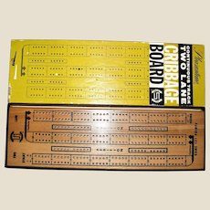 Vintage Cribbage Board with Instructions & Original Box ~ Pleasantine, All Pieces Mint Condition - 1963