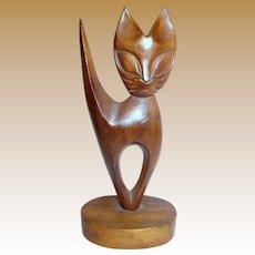 Mid Century Modern Hardwood Cat Sculpture