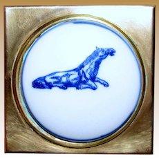Small Brass Box w/ Blue Transfer Horse Design