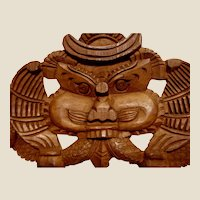 """Large Maori Hand Carved Wooden Wall Hanging 14"""""""