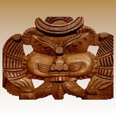 Large Maori Hand Carved Wooden Wall Hanging