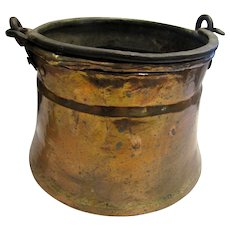 Large Hand Forged Copper Cauldron, Planter w/ Iron Handle